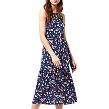 Buy Warehouse Mae Floral Midi Dress, Blue Pattern Online at johnlewis.com
