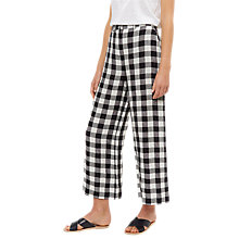 Buy Jaeger Linen Gingham Cropped Trousers, Black/White Online at johnlewis.com