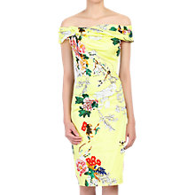 Buy Jolie Moi Retro Floral Print Bardot Dress, Yellow Online at johnlewis.com
