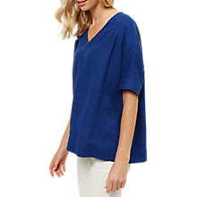 Buy Jaeger Linen V-neck T-shirt, Blue Online at johnlewis.com