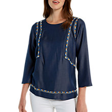 Buy White Stuff Zahara Embroidered Top, Wallpaper Blue Online at johnlewis.com