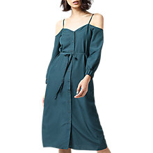 Buy Warehouse Cold Shoulder Cami Dress, Dark Green Online at johnlewis.com