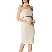 Buy Karen Millen Textured Fold Over Pencil Dress, Champagne Online at johnlewis.com