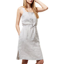 Buy Jaeger Linen Paper Bag Dress, Grey Melange Online at johnlewis.com