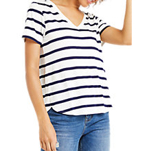 Buy Oasis V-Neck Stripe T-Shirt, Multi/Blue Online at johnlewis.com