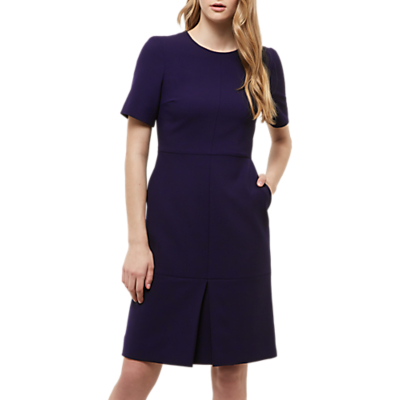 Colette Box Pleat Dress - style: shift; fit: tailored/fitted; pattern: plain; predominant colour: navy; occasions: evening, work; length: just above the knee; fibres: polyester/polyamide - stretch; neckline: crew; sleeve length: short sleeve; sleeve style: standard; texture group: crepes; pattern type: fabric; pattern size: standard; wardrobe: investment; season: s/s 2017