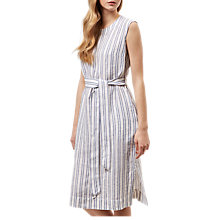Buy Jaeger Striped Tie Waist Linen Dress, White Online at johnlewis.com