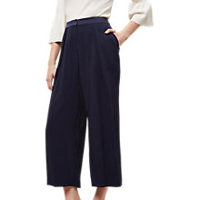 Buy Jaeger Pleated Front Trousers, Navy Online at johnlewis.com