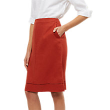 Buy Jaeger Linen Hem Detail Skirt, Red Online at johnlewis.com