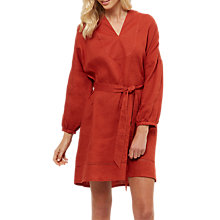 Buy Jaeger Linen Belted Oversized Dress, Red Online at johnlewis.com