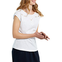 Buy White Stuff Pretty Cutwork Jersey T-Shirt, White Online at johnlewis.com
