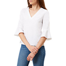 Buy Hobbs Bonnie Fluted Sleeve Top, White Online at johnlewis.com