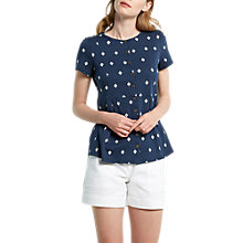 Buy White Stuff Katie Patterned Jersey Shirt, Navy Online at johnlewis.com