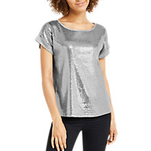 Buy Oasis Sequin Panel Top, Pale Grey Online at johnlewis.com