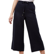 Buy Jaeger Linen Wide Leg Cropped Trousers, Navy Online at johnlewis.com