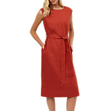 Buy Jaeger Linen Belted Midi Dress, Red Online at johnlewis.com