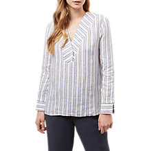 Buy Jaeger Striped Linen Tunic, White/Blue Online at johnlewis.com
