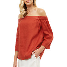 Buy Jaeger Linen Off Shoulder Top, Red Online at johnlewis.com