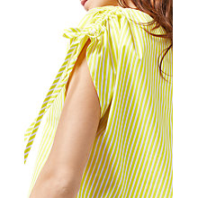 Buy Warehouse Stripe Ruched Sleeve T-Shirt, Yellow Online at johnlewis.com
