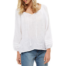 Buy Jaeger White Linen Gauze Tie Top, White Online at johnlewis.com