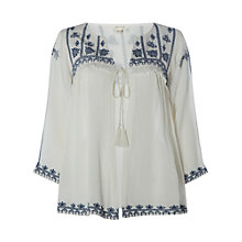 Buy White Stuff Rose Tassel Embroidered Blouse Jacket, White/Blue Online at johnlewis.com