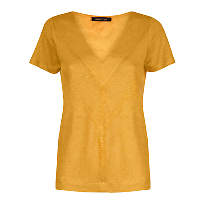Linen Chevron T Shirt - neckline: v-neck; pattern: plain; style: t-shirt; predominant colour: mustard; occasions: casual, creative work; length: standard; fibres: linen - 100%; fit: loose; sleeve length: short sleeve; sleeve style: standard; texture group: linen; pattern type: fabric; pattern size: standard; wardrobe: highlight; season: s/s 2017