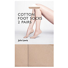 Buy John Lewis 15 Denier Cotton Blend Sock Liners, Pack of 2, Nude Online at johnlewis.com