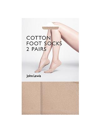 John Lewis & Partners 15 Denier Cotton Blend Sock Liners, Pack of 2, Nude