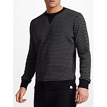 Buy Edwin Waffle Striped Knit Jumper, Dark Grey/Black Online at johnlewis.com