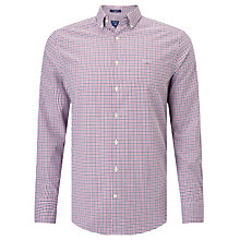 Buy Gant Technical Prep Twill Check Shirt, Raspberry/Purple Online at johnlewis.com