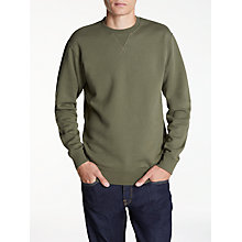 Buy Edwin Classic Crew Jersey Top, Olive Drab Online at johnlewis.com