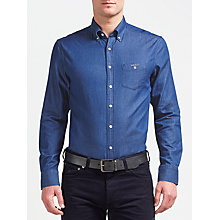 Buy Gant Indigo Long Sleeve Shirt, Indigo Online at johnlewis.com