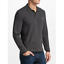 Buy Gant Long Sleeve Pique Polo Top, Charcoal Online at johnlewis.com