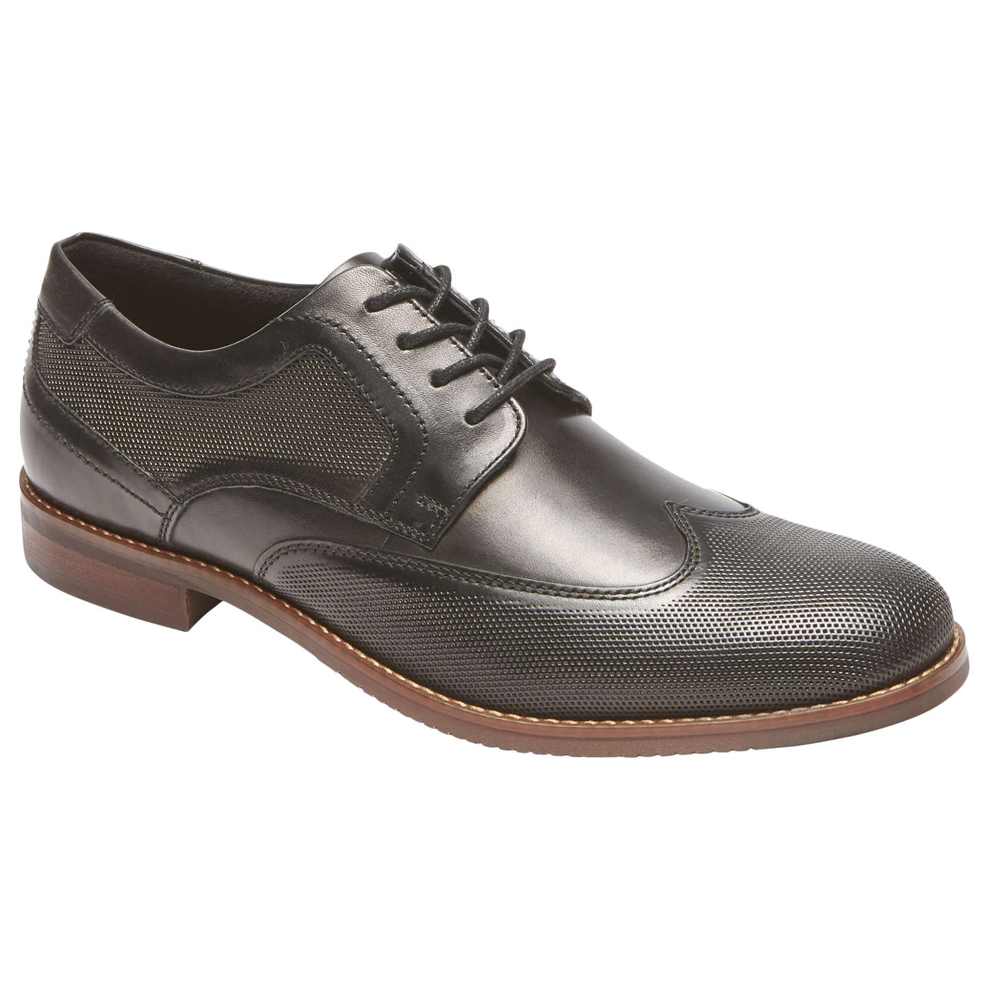 BuyRockport Style Purpose Perforated Wingtip Shoes, Black, 7 Online at  johnlewis.com ...