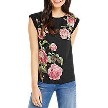Buy Oasis Royal Worcester Collection Metallic Floral Print T-Shirt, Black Online at johnlewis.com