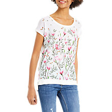 Buy Oasis Magnolia Hem Knitted T-Shirt, Bright Pink Online at johnlewis.com