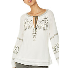 Buy Mint Velvet Folk Embroidered Blouse, Ivory Online at johnlewis.com