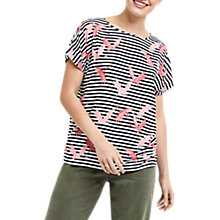 Buy Oasis Flamingo Stripe T-Shirt, Multi Online at johnlewis.com