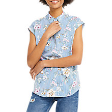 Buy Oasis Stripe Floral Roll Sleeve Shirt, Blue/Multi Online at johnlewis.com