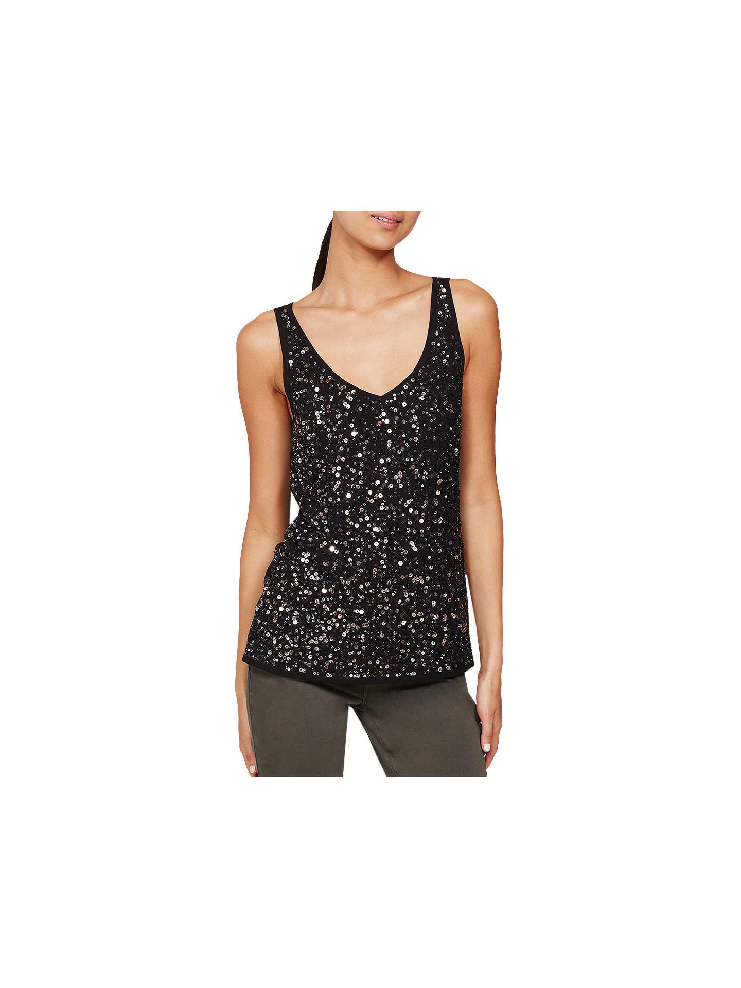 d603b81b Buy Mint Velvet Sequin Vest Top, Black, 6 Online at johnlewis.com ...