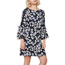 Buy Mint Velvet Cecilia Butterfly Print Flared Sleeve Dress, Ink/Ivory Online at johnlewis.com