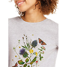Buy Oasis Botanical Print T-Shirt, Mid Grey Online at johnlewis.com
