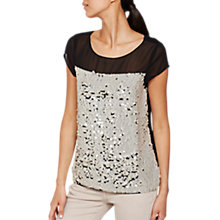 Buy Mint Velvet Petal Sequin Layer Top, Black/Multi Online at johnlewis.com