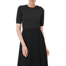 Buy L.K. Bennett Andie Button Rib Top, Black Online at johnlewis.com