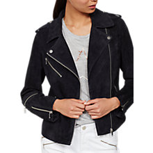 Buy Mint Velvet Suede Zip Biker Jacket, Dark Blue Online at johnlewis.com