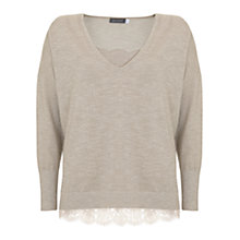 Buy Mint Velvet Metallic V-Neck Knitted Top with Cami, Cream Online at johnlewis.com