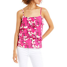 Buy Oasis Floral Print Tiered Cami, Multi/Pink Online at johnlewis.com