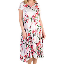 Buy Chesca Floral Print Satin Dress, White Online at johnlewis.com
