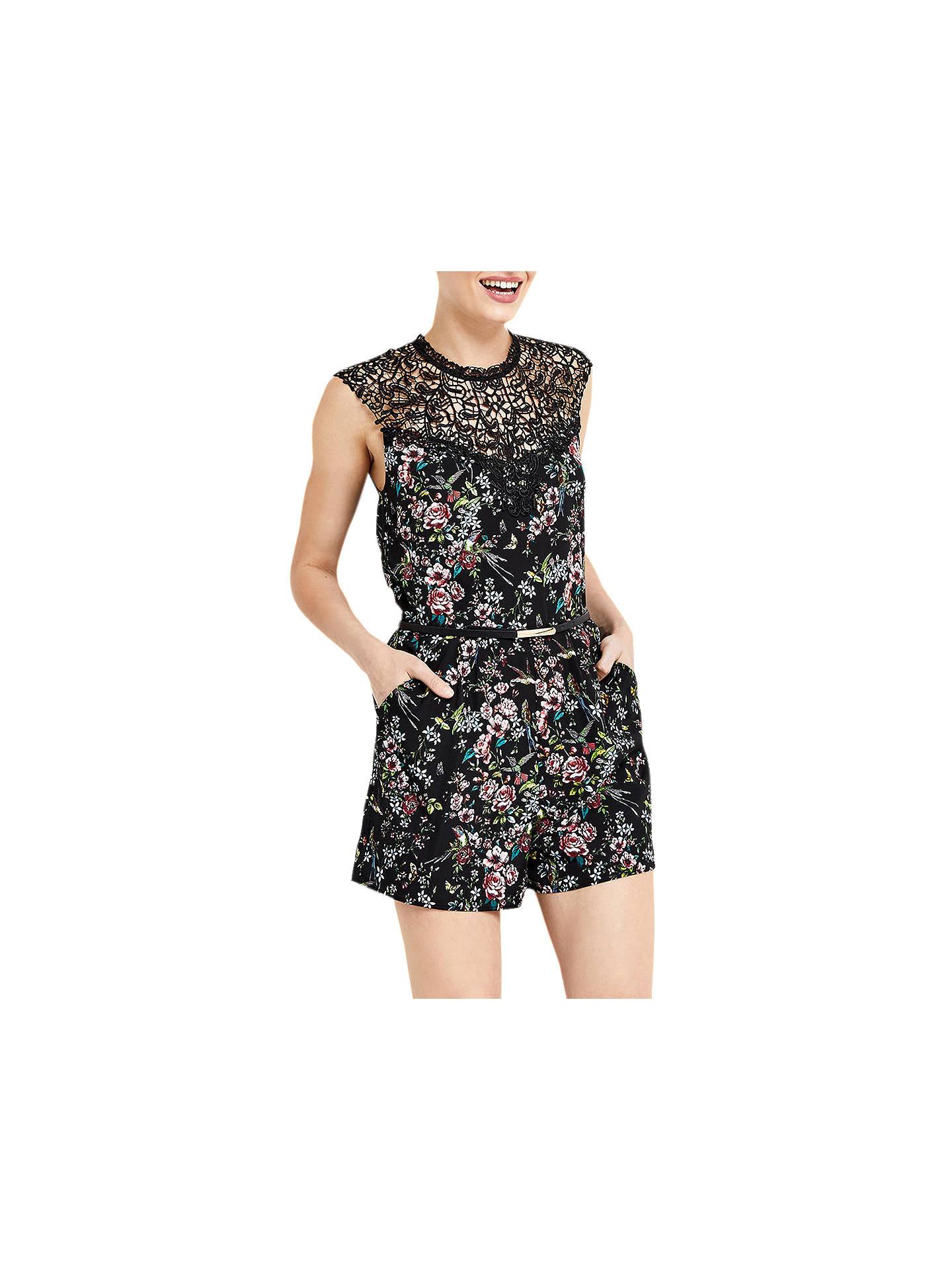 5974b0bbd329 Buy Oasis Royal Worcester Collection Floral Print Playsuit, Black/Multi, 6  Online at ...