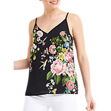 Buy Oasis Floral Placement Camisole, Black Online at johnlewis.com
